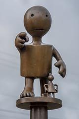 Brass art (John Klos) Tags: clinton johnklos newjersey nikkor2485mmf3545g nikon nikond7200 art unitedstates us interesting rain brass sculpture wet cloudy outdoor different point