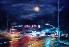 Glow of a Rainy Night (Terry Pellmar) Tags: texture digitalart digitalpainting kensington street rain night lights