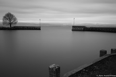 Le calme plat (Elyane11) Tags: poselongue lac hiver netb calme