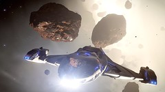 Escape from asteroids (devilish canary) Tags: frontier elite dangerous ship asteroid ed ring videogame planet imperial clipper