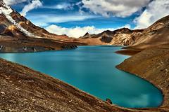 Tilicho Lake (YogiMik) Tags: tilicho lake annapurna range himalaya nepal yogi mik mountains snow capa glacierclouds blue sky water turquise stones awesome amazing landscape rocks scenery