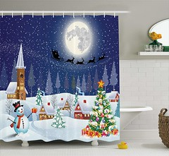 Christmas Themed Shower Curtain (mywowstuff) Tags: gifts gadgets cool family friends funny shopping men women kids home