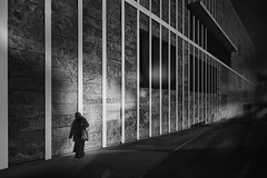 ... rememberthepoor ... (*ines_maria) Tags: flickrheroes shadow gh5 panasonic monochrome bw city linz person woman urbanexploration urbanart geometry lines walk lonely light