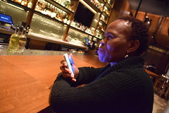DSC_2809 Nobu Japanese Hotel Cocktail Bar Shoreditch London with Dee from Botswana on her Phone Again! (photographer695) Tags: with dee from botswana nobu japanese hotel cocktail bar shoreditch london her phone again