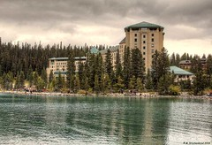 The Fairmont Chateau Lake Louise in Banff National Park (PhotosToArtByMike) Tags: fairmontchateaulakelouise lakelouise emeraldlake turquoisecoloredwater banff banffnationalpark turquoisewaters canadianrockies albertacanada mountain mountains