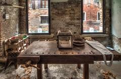Venice woodworking shop (James Mc2) Tags: venice italy woodwork workshop bench woodshavings windows light river hdr nikond7500 tokina bricks canal texture