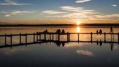 Sunset (hjuengst) Tags: ammersee lake bavaria bayern sunset sonnenuntergang clouds wolken steg jetty people leute spiegelung reflection reflektionen herrsching