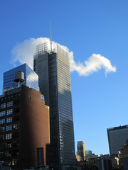 2018 November Clouds and Virtual Clock 4228 (Brechtbug) Tags: 2018 november clouds virtual clock tower from hells kitchen clinton near times square broadway nyc 11032018 new york city midtown manhattan fall autumn weather building dark low hanging cloud hell s nemo southern view ny1rain