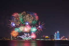 Colourful Fire (kevinho86) Tags: 40mm canon colour tower macao macau night nightscape citynights longexposures lightshadow fireworks 海 岸邊 海邊 海岸 citylights cityscapes art water 天際線 澳門 stack 夜景 天空 空 城市 eos450d