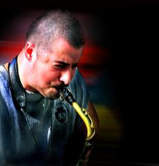 Blowin in The Wind .... (daystar297) Tags: streetportrait portrait music musician performer performance sax saxophone horn washingtonsqpark nikon jazz blues