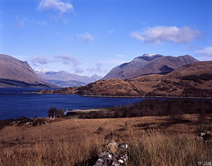 Inverliver Bay and the Glen Etive Hills (tthef) Tags: film fujichromeprovia100f bideannambian buachailleetivemor
