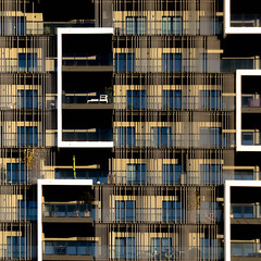 facade (morbs06) Tags: düsseldorf abstract architecture balcony building city colour facade geometry light lines pattern repetition residential rods shadow square stripes texture white windows