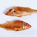 smoked Surmullet fish, white background.