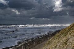 the cold arrives (Wöwwesch) Tags: ocean coast waves storm dunes clouds sky sand fence winter beach cold walk