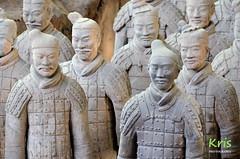 Terracotta Army, life-size terracotta warriors in battle formation (Xi'an, China) (|kris|) Tags: terracottaarmy xi'an china asia warrior statues archaeological excavations unesco worldheritagesite qinshihuang imperial military guard emperor tomb soldiers generals officers cavalrymen archers charioteers figures mausoleum shaanxiprovince clay