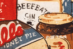 Macro Monday - part of a tea towel promoting a hamper company.   I got the tea towel in the early 1990's and have never used it. (alisonhalliday) Tags: sigma105mm macromondays cloth canoneos77d macro