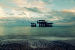 Brighton West pier remains (technodean2000) Tags: ©technodean2000 lr ps photoshop nik collection nikon technodean2000 flickr photographer d810 wwwflickrcomphotostechnodean2000 www500pxcomtechnodean2000 west pier brighton england sea beach fire uk remains ocean sky bay water sand sunset seaside people landscape rock
