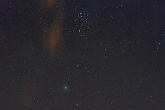 Comet 46/P Wirtanen and the Pleiades Open Cluster (n.pantazis) Tags: stars nightsky comet pleiades astrophotography astrotracer ogps1 pentaxk70 tamron