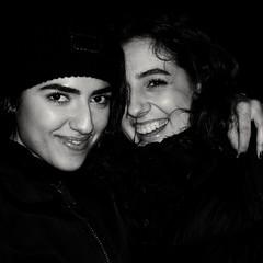 Alba and Johana (sp) ; Soho (Darryl Scot-Walker) Tags: girls spanish londonstreetphotographers londonstreets streetportrait flash flashphotography fujifilmx100t fujifillm x100t bw monochrome blackandwhite