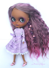 Vanessa (Motor City Dolly) Tags: custom ooak blythe doll purple mohair reroot tan brown skin motor city dolly