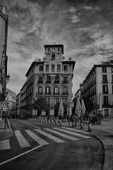 Plaza de Ramales_ByN (ninestad) Tags: street calle byn wb nikon nubes clouds edificios buildings arquitectura hdr madrid austrias architecture calles calzadas pasodecebra crosswalk palace terraza airelibre