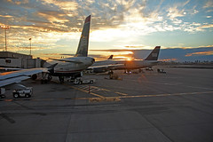Sunset on US Airways In Phoenix (craigsanders429) Tags: usairways usairwaysjets sunsetphotography sunsets sunset sunsetcolors phoenixskyharborairport aircraft airlines airliners airplanes airports jets jetliners cloudsandsky clouds