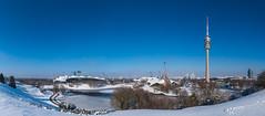 München, Olympiapark im Winter (bayernphoto) Tags: muenchen munich winter schnee snow eis ice olympiapark olympic park sonnig olympiaturm stadion olympische spiele 1972 bayern bavaria blauer himmel blue sky see gefroren frozen spuren snowboard ski iglu sonnenstern bmw welt panorama panoramic view ausblick