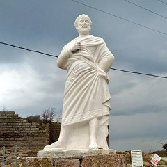 Assos, one of the most important port cities of ancient times, has been recorded the world history as the settlement where Aristotle found his first philosophy school. His statue in Assos. (ancient pix) Tags: ancient history ancienthistory photo photography culture art arts archaeology archeology