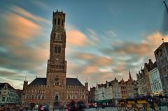 Belfort_Brügge_ND 1000 (milanicon_) Tags: pentaxk30tokina3517mmarchitektur belfort brügge brugge grote markt nd1000 marktplatz turm tower city stadt vedute weitwinkel wide wolken clouds nuages