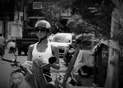 Bali biker (MyEyeSoul) Tags: bali biker tourist scooter coffeeshop revolver seminyak street candid portrait blackandwhite bw monochrome people indonesia heat helmut nike sony tourism travel traveller girl woman