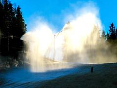 Snowmaking (bjorbrei) Tags: snowcannons snowmaking snow frost winter autumn trees spruces sky blue skislope trollvannskleiva trollvann grefseskollen grefsenåsen grefsen oslo norway