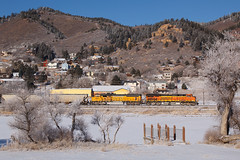 BNSF 7334 Palmer Lake 29 Dec 18 (AK Ween) Tags: bnsf bnsf7334 ge generalelectric es44dc gevo palmerlake colorado jointline train railroad rampartrange sodaash
