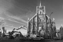 365 Infrared 021Destruction and preservation. (PeteMartin) Tags: 365 archtecture bw church construction digger facade girders infrared preservation tower urban