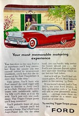 Couple Is Trapped in their House by a Ford (saltycotton) Tags: automobile car ford fairlane neighborhood readersdigest vintage magazine advertisement ad 1955 1950s