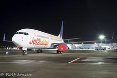 G-JZHT Boeing 737-800 Jet2 Glasgow airport EGPF 04.02-19 (rjonsen) Tags: plane airplane aircraft aviation airliner parked ramp tripod night photo