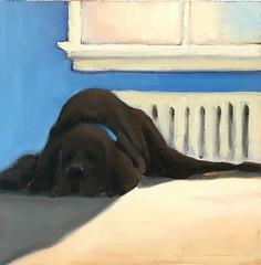 Bad Idea - Black Dog, White Carpet (Jennymac067) Tags: artist art oilpainting painting dog black