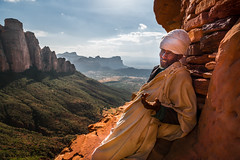 Conversation on the cliff (maricontis) Tags: abunayemataguh mountain nature oldman priest ethiopia africa ngc nationalgeographic ethnic humanity