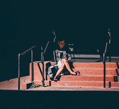 Look (theartistcris) Tags: female shade contrast woman sit seat steps stairs