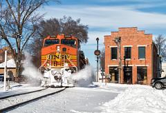 Pumpkin Smash (Wheelnrail) Tags: bnsf burlington northern santa fe csx train trains q257 locomotive ge tipp city ohio oh toledo subdivision pumpkin signal signals cpl bo building snow winter sunny drift busting