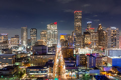 Main Street (RaulCano82) Tags: drone mavic mavicair aerial photography landscape city hou htx houston cityscape htown houstontx houstontexas raulcano texas tx dji citylights skyline skyscrapers skyscraper night downtown dthtx downtownhouston air colorful modern