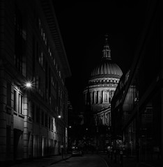Cathedral and the Ghosts... (Aleem Yousaf) Tags: stpaul cathedral london anglican bishopoflondon mother church diocese ludgate hill city cityscape building architecture dome english baroque sirchristopherwren historical monument blitz religon england uk nikon d810 1835mm nikkor photography night november winter light shadows lit street bread ghosts long exposure glass windows reflections pillars downtown world outdoor design camera digital flickr contrast dusk dark great britain mono monochrome black white