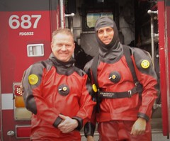 Posed divers (chemsuiter) Tags: drysuits divers chicagoscubateam chicagofiredepartmentdivers scubateam diveteam drysuit vikingdrysuit dusableharbor