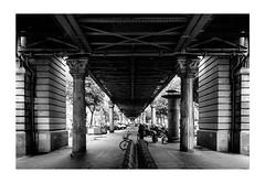 Under the Bridge (Thomas Listl) Tags: thomaslistl blackandwhite noiretblanc biancoenegro monochrome architecture paris france bridge passage vanishingpoint geometry trainstation station urban city