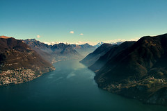 Top of Mount San Salvatore (ndrearu) Tags: mount sky panorama water nature view switzerland ticino sun light blue snow fog lake landscape mountain mist mountainside top