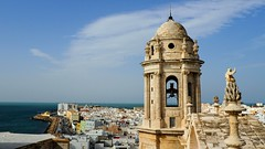 On top of Cathedral Nueva. (Flyingpast) Tags: cathedral nueva catedral church tower dome view rooftops cityscape sea beautiful sky blue andalucia spanish spain city moors moorish panorama building architecture old ancient historic bell statue sculpture cadiz