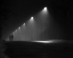 foggy night (marianna armata) Tags: fog night winter couple walking perspective street urban lights mariannaarmata p2930605