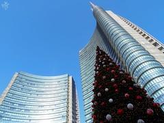 Christmas time is coming to town. Milano (diegoavanzi) Tags: milano milan italia italy lombardia lombardy sony hx300 bridge grattacieli torre unicredit skyscrapers tower albero natale christmas tree