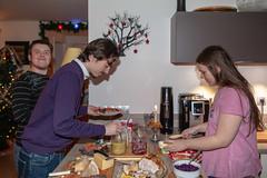First tasting of the Christmas buffet (jpergunnar) Tags: timothy cassandra jonathan food family christmas holiday peoplefamily