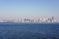 Seattle-Bainbridge Ferry-5 (_futurelandscapes_) Tags: none seattle bainbridgeisland ferry washington transit boat water cityscape skyline autumn sunny bluesky clear bright calm travel vacation city spaceneedle highrise industrial waterfront pier pikeplace