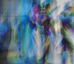 Salsa in motion (Wendy G Davies) Tags: abstract night show cuba dancers lights colours motionblur
